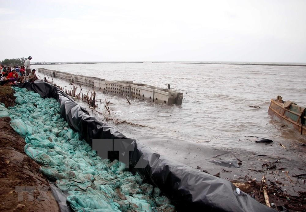 Over a couple of days, raging waves have eroded a section of a sea dyke on the western coast of the southernmost province of Ca Mau (Photo: VNA)