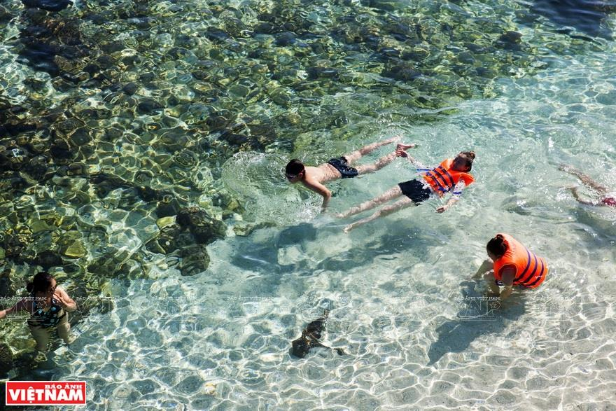 Swimming in the clear blue water of Dao Be (Photo: VNA)