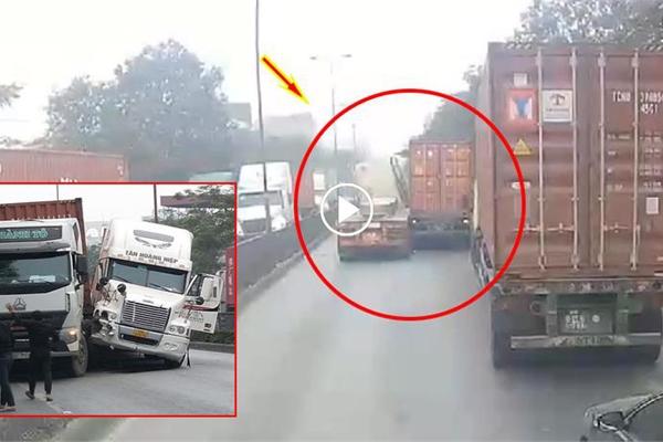 Khoảnh khắc như trong phim Transformers khi 2 xe container va chạm nhau trên Quốc lộ 5
