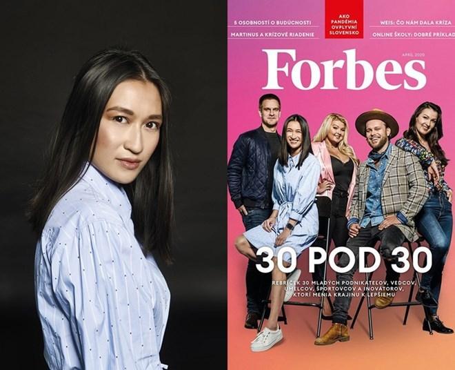 Thảo Hương trên tạp chí Forbes (váy xanh)