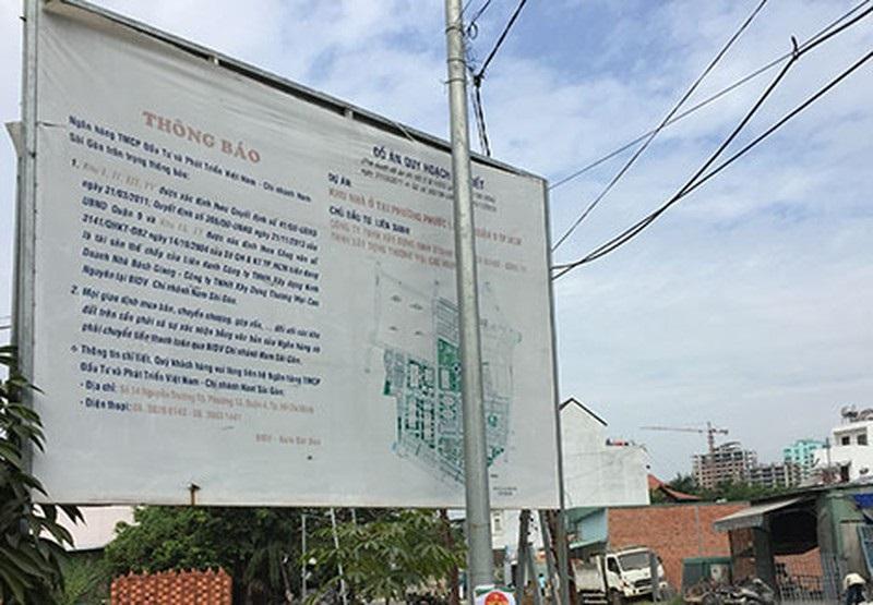 Dự án KDC khu phố 4, phường Phước Long, TP Thủ Đức của Công ty Bách Giang xập xệ và vướng kiện tụng, khiến ngân hàng không thể bán để thu hồi nợ.