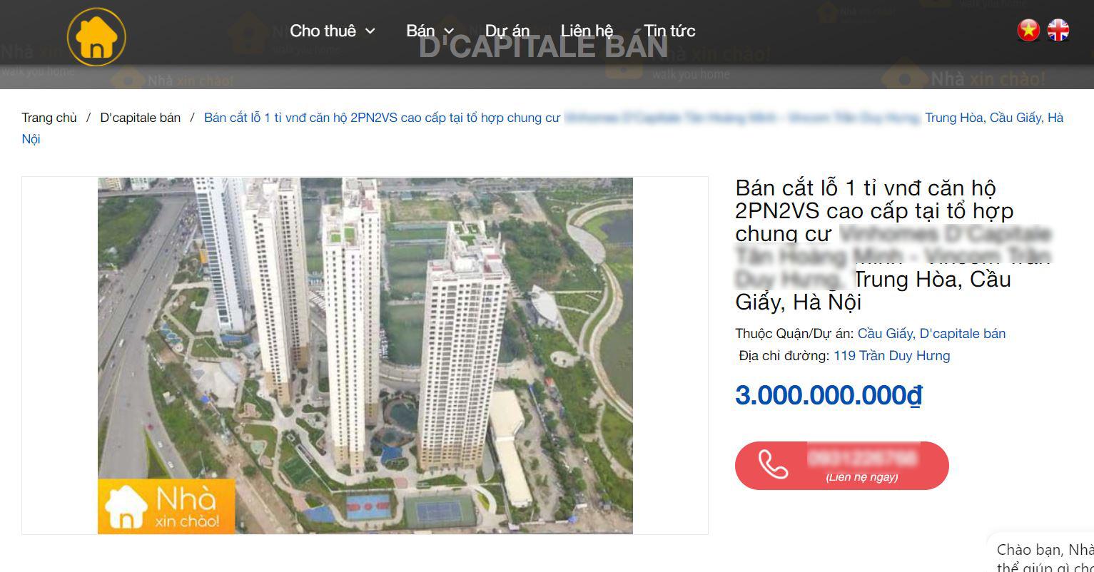 Một căn hộ chung cư cao cấp được rao bán cắt lỗ cả tỷ đồng.