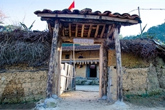 A village of earthen houses in Ha Giang