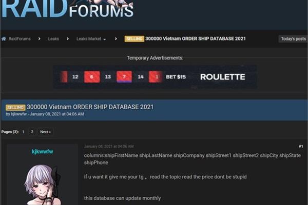 Hacker sells personal data of 300,000 Vietnamese on cyberhacking forum