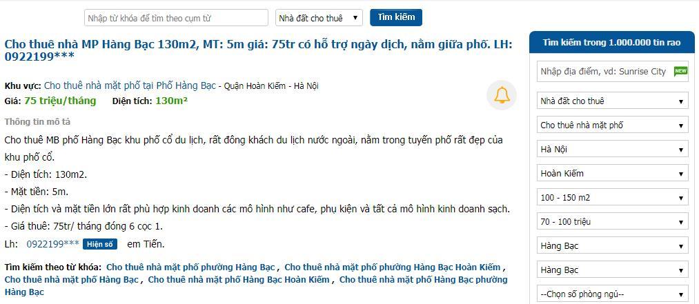 tin rao thuê nhà trên trang Batdongsan.com.vn