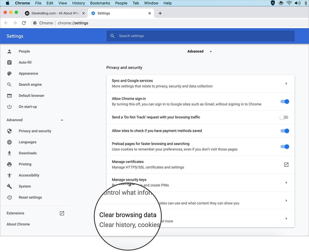 xóa dữ liệu duyệt web Chrome macOS