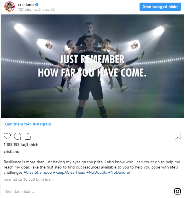 1 bài đăng của Ronaldo trên Instagram có giá gần 1 triệu USD - Ảnh 1.