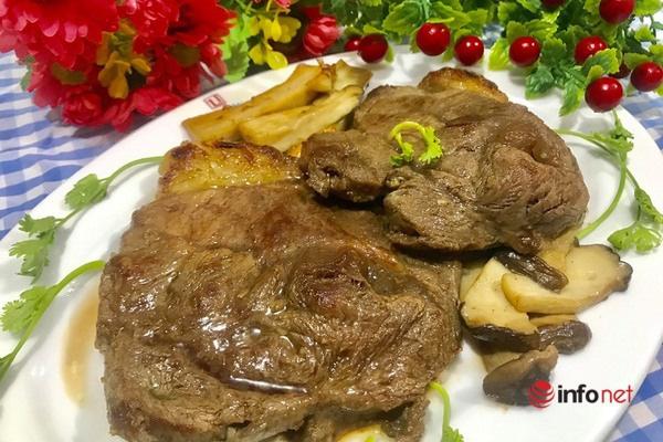 Thịt bò áp chảo thơm ngon đổi món cuối tuần - Ảnh 1.