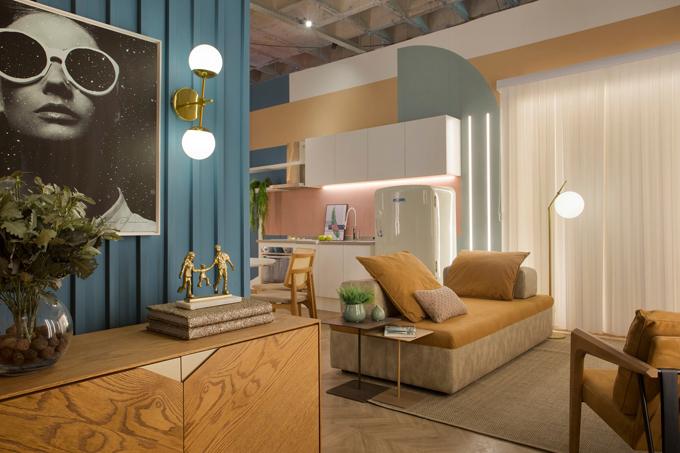 Khu vực tiếp khách của căn hộ.Từ khi triển khai dự án cho tới khi bàn giao nhà, nhóm kiến trúc sư chỉ có 45 ngày.