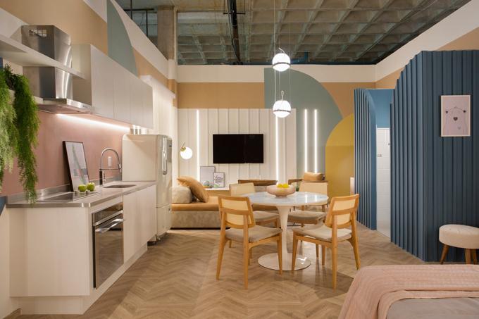 Căn hộ có diện tích 40 m2 được hoàn thiện vào năm 2019 bởi Camila Fleck Arquitetura. Cảm hứng sáng tạo của nhóm kiến trúc sư đến từ một chuyến du lịch Milan, nơi họ nhìn thấy những công trình mang sắc màu pastel của thành phố.