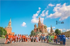 Kremlin Palace featured on Vietnamese Ao Dai