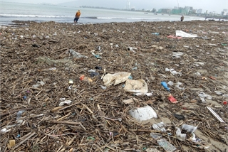 Da Nang beach covered with debris after storm