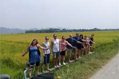 Foreign tourists experience farming life in Trang An