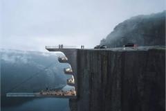 Khách sạn độc đáo treo lơ lửng trên vách đá dựng đứng ở Nauy