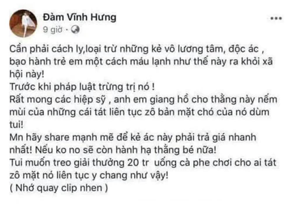 """Sở Thông tin truyền thông ý kiến việc facebook Đàm Vĩnh Hưng """"kêu gọi đánh người"""""""