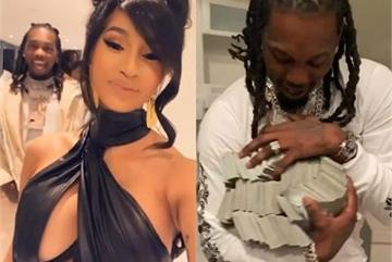 Cardi B tặng chồng bao tải tiền trong ngày sinh nhật