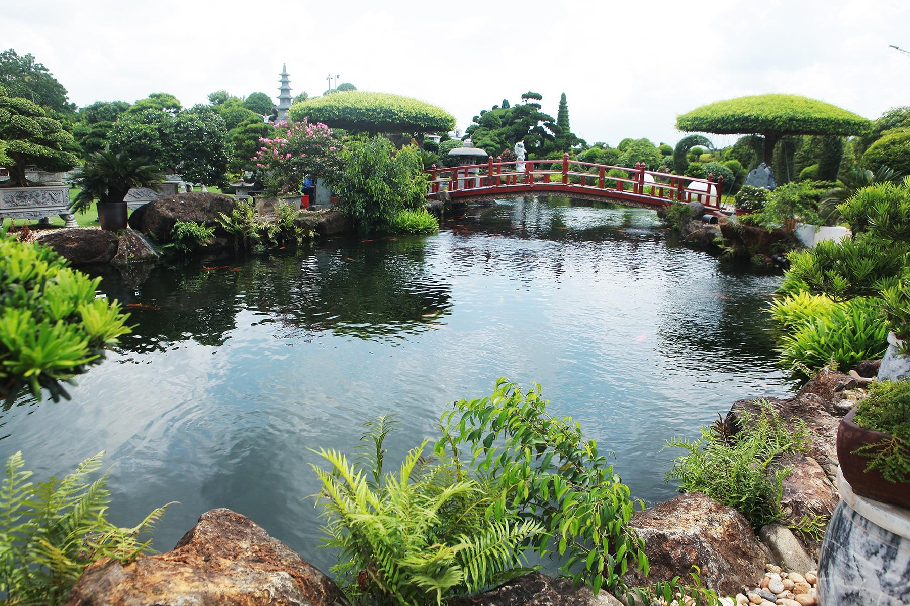 """Đại gia làm hồ cá Koi, đồi nhân tạo bằng 100 tấn """"đá bán quý"""" - 1"""