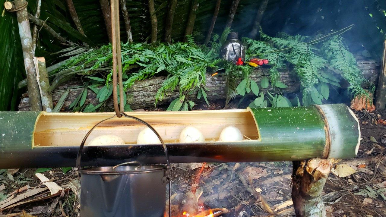 Chàng trai bỏ phố lên rừng: Nướng cá trên đá, luộc trứng trong ống nứa - 5