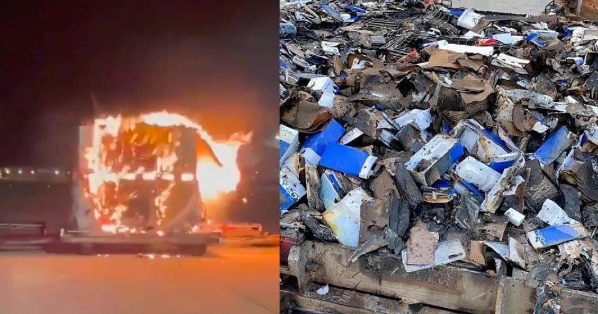 Sốc khoảnh khắc lô hàng smartphone cháy ngùn ngụt trong sân bay - 1