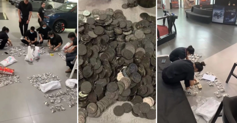 Ông bố Trung Quốc mang 10 bao tiền xu đi mua ô tô cho con trai - 1