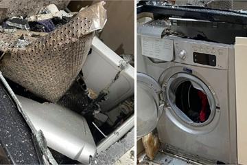Máy giặt nổ như bom khi đang vận hành, phá hủy cả căn bếp