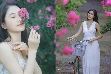 Thiếu nữ tuổi xuân thì đọ dáng bên sắc hoa tường vi