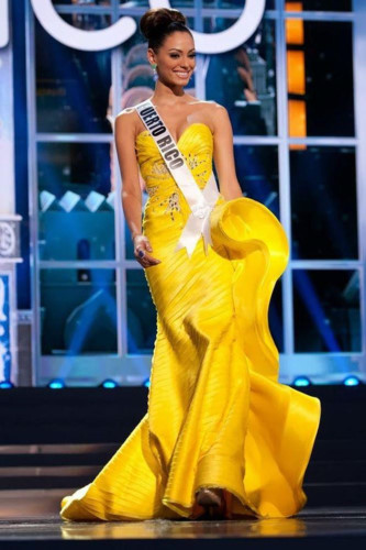 yellow evening gown worn by h'hen nie wins miss universe award hinh 8