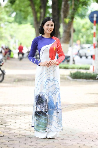 beauty queens shine in ao dai bearing images of national sea and islands hinh 2