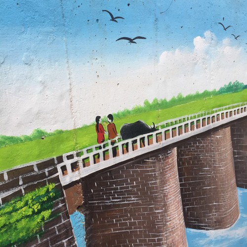 a close-up of largest mural paintings in hanoi hinh 17