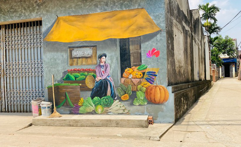 a close-up of largest mural paintings in hanoi hinh 8