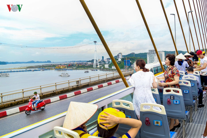 foreigners enjoy scenic views onboard double decker buses in ha long hinh 10