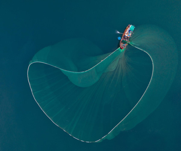 dramatic images of fishing nets captured from above in phu yen hinh 4