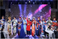 Images showcasing world heritage sites featured on traditional Ao Dai