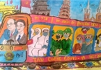 """""""Vietnamese train pushes back COVID-19"""" wins prize in child's painting contest"""