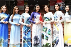 Beauty queens shine in Ao Dai bearing images of national sea and islands