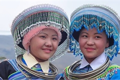Colourful headdresses of ethnic girls in mountainous region