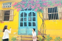 A close-up of largest mural paintings in Hanoi