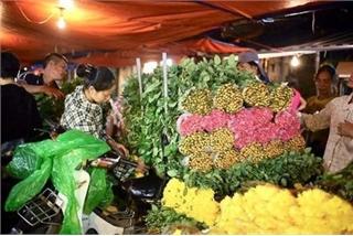 Hanoi's largest flower market enjoys bustling atmosphere ahead of Tet