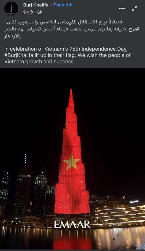 world's tallest tower features vietnamese flag to mark national day hinh 0