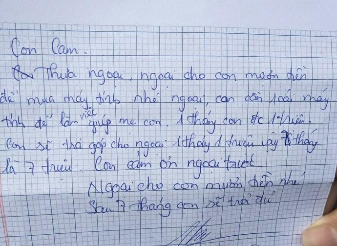 Bức thư vay tiền của ngoại của bé C.