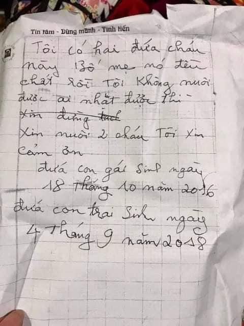 Bức thư nhờ nuôi giúp của người thân hai chị em ruột bị bỏ rơi. Ảnh minh họa