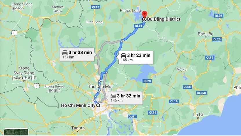 Hướng từ TPHCM đi rừng cao su Bù Đăng (Bình Phước). Ảnh chụp màn hình Google Maps