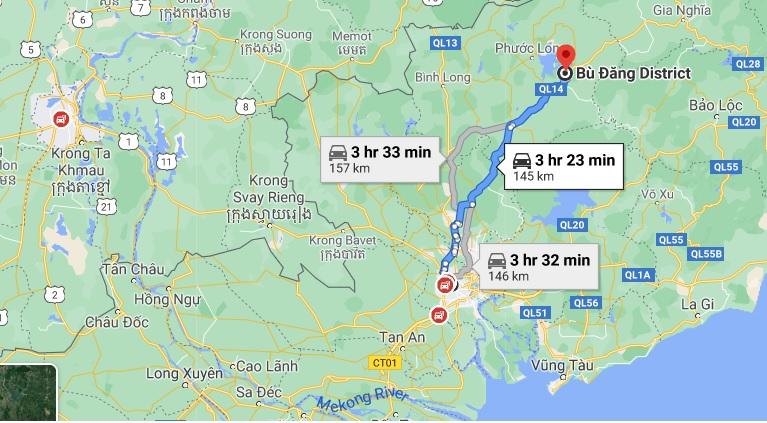 Đường đi từ TPHCM đến Dầu Tiếng, Bình Phước. Ảnh chụp màn hình Google Maps.