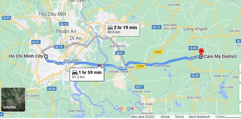 Cung đường từ TPHCM đi Cẩm Mỹ, Đồng Nai. Ảnh chụp màn hình Google Maps.