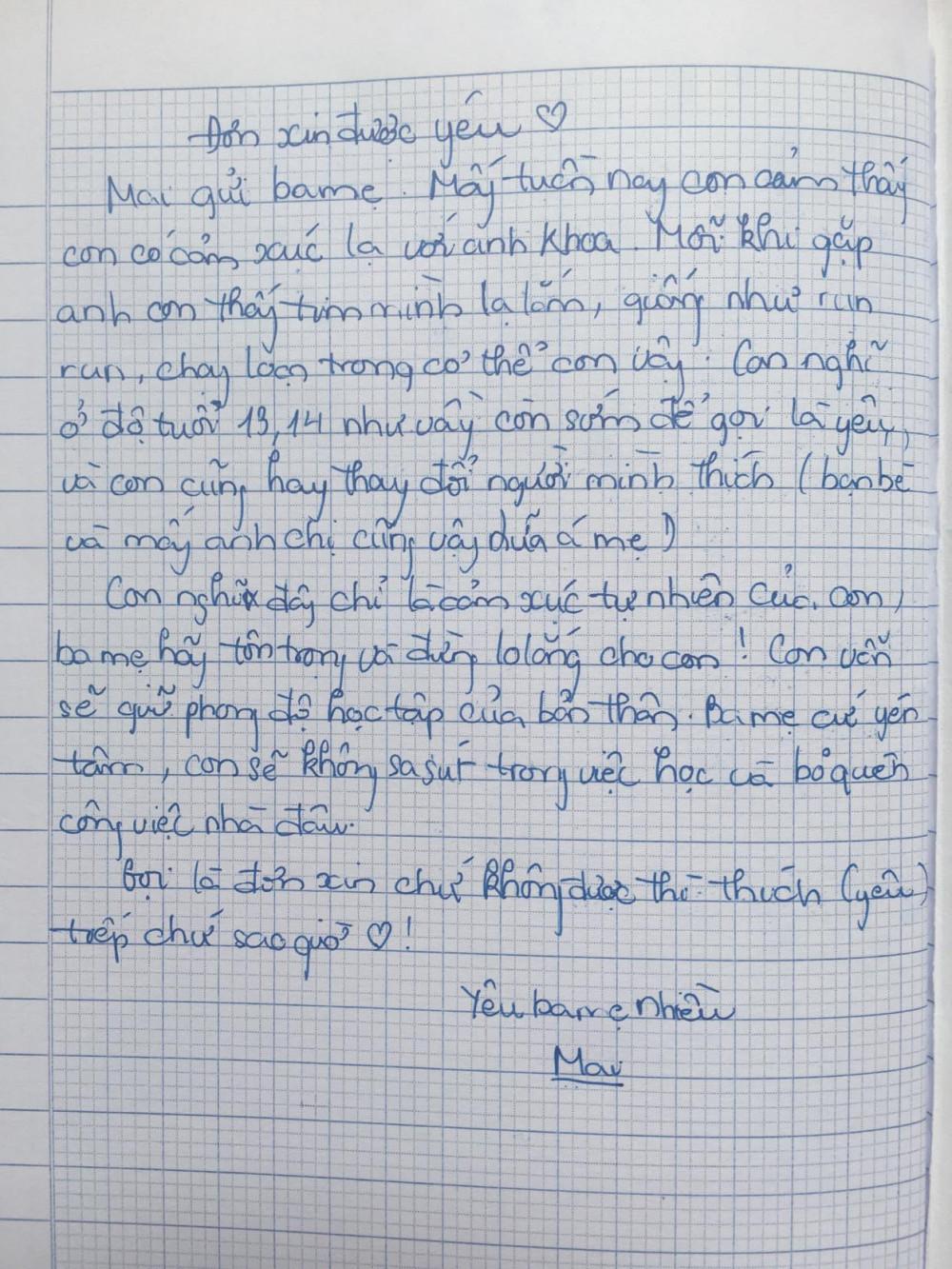 Lá đơn xin được yêu của con gái lớp Bảy