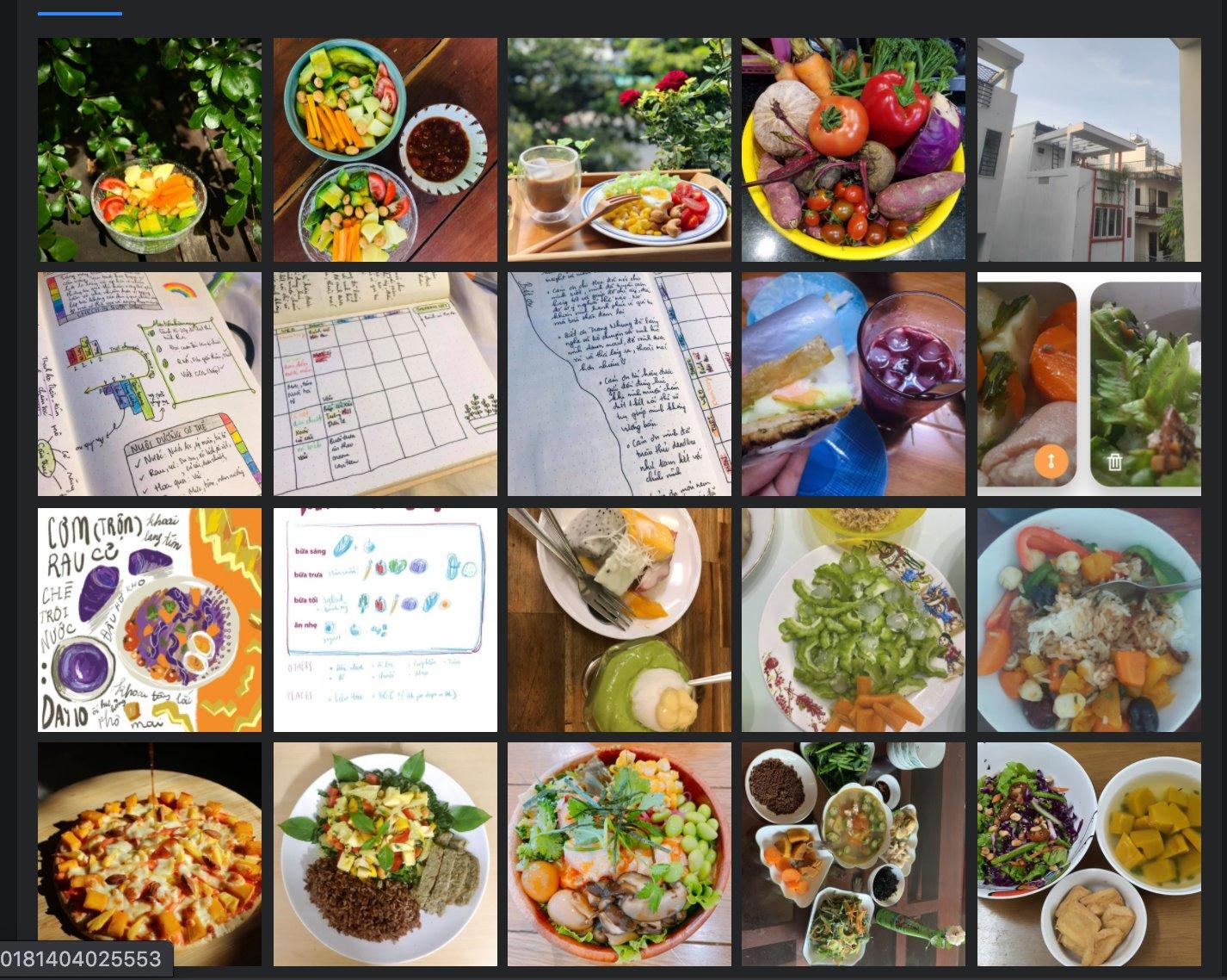 Hình ảnh các bữa ăn của học viên theo chế độ cầu vồng.