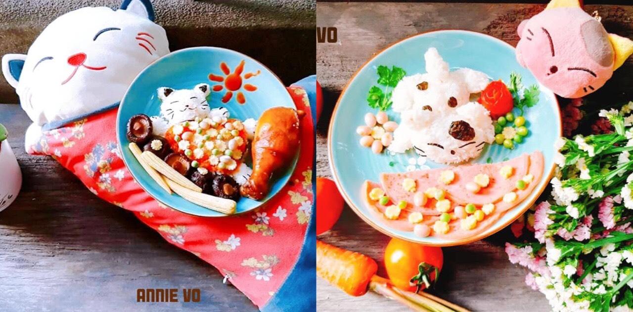 Dĩa cơm được tạo hình theo thú nhồi bông yêu thích của bé Quyên.