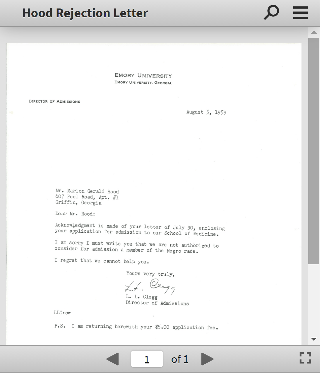Lá thư từ chối của Đại học Emory gửi ông Hood vào năm 1959 - Ảnh: AJC