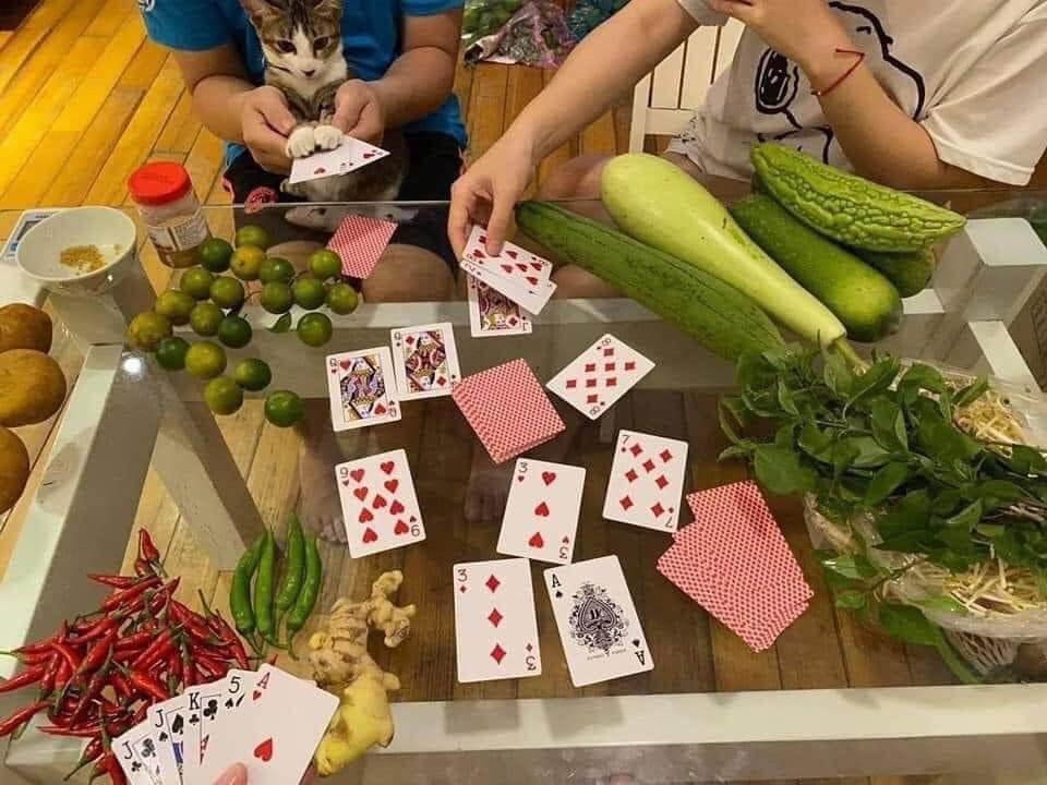 Tấm hình đánh bài bằng rau củ quả được chia sẻ nhiều trên mạng xã hội khiến ai nấy bật cười
