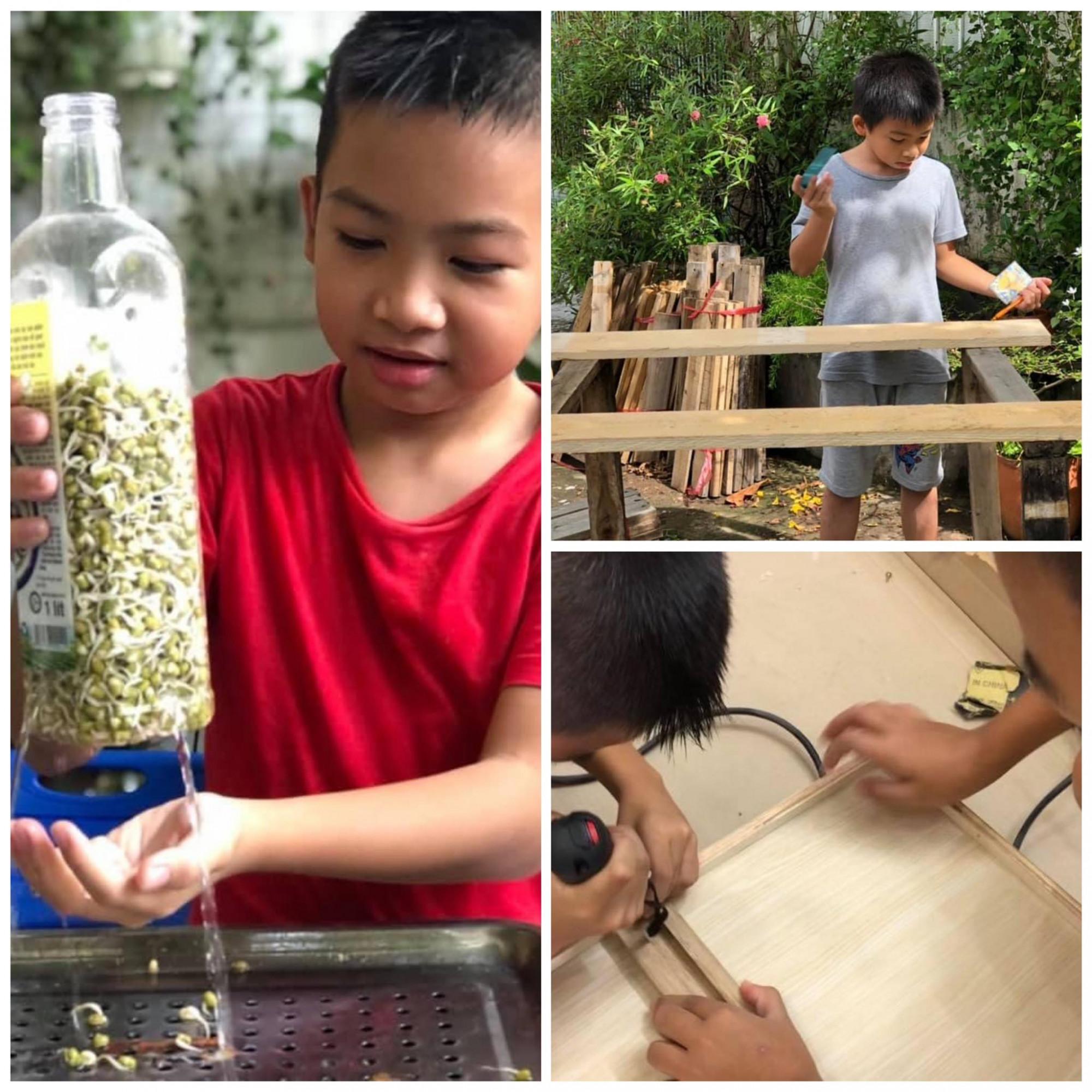 Mùa dịch, các con chị Hoa tìm thú vui trong lao động và sáng tạo (Ảnh nhân vật cung cấp)